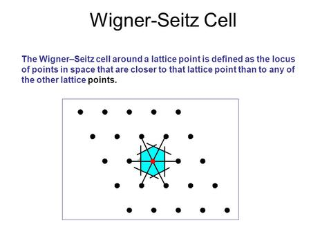 Wigner-Seitz Cell The Wigner–Seitz cell around a lattice point is defined as the locus of points in space that are closer to that lattice point than to.