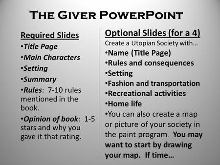The Giver Utopia Project. - ppt video online download on