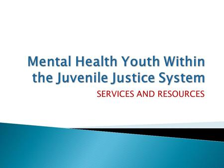 SERVICES AND RESOURCES. Total Unduplicated Youth Youth with Mental Health Diagnosis % 2007 67183755.58% 2008 62185739.22% 2009 563878113.85% 2010 515572214.01%