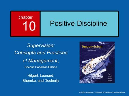 Positive Discipline Supervision: Concepts and Practices of Management,