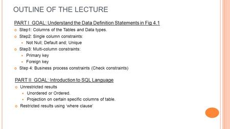 OUTLINE OF THE LECTURE PART I GOAL: Understand the Data Definition Statements in Fig 4.1 Step1: Columns of the Tables and Data types. Step2: Single column.