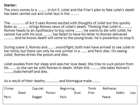 Starter: The story comes to a ………. in Act 5. Juliet and the Friar's plan to fake Juliet's death has been carried out and Juliet lays in the ……... The ……………