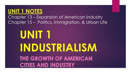 UNIT 1 INDUSTRIALISM The growth of American cities and industry