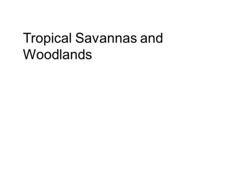 Tropical Savannas and Woodlands. Tropical savannas are grasslands with a scattering of shrubs or trees. Tropical woodlands have a higher density of trees,
