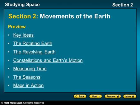 Section 2: Movements of the <strong>Earth</strong>