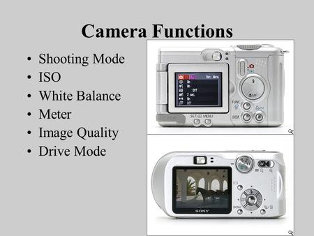 Camera Functions Shooting Mode ISO White Balance Meter Image Quality Drive Mode.
