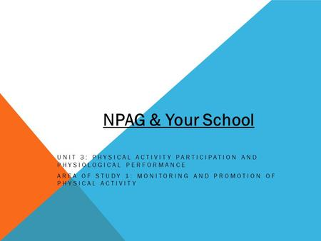 UNIT 3: PHYSICAL ACTIVITY PARTICIPATION AND PHYSIOLOGICAL PERFORMANCE AREA OF STUDY 1: MONITORING AND PROMOTION OF PHYSICAL ACTIVITY NPAG & Your School.