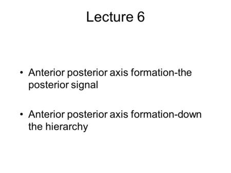 Lecture 6 Anterior posterior axis formation-the posterior signal Anterior posterior axis formation-down the hierarchy.