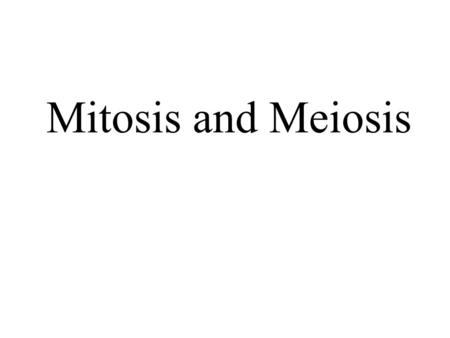Mitosis and Meiosis.