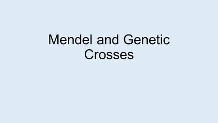 Mendel and Genetic Crosses. Mendel Gregor Mendel – botanist Studied inheritance through pea plants 1850's Pea plants – sexual reproduction Usually self-fertilize.