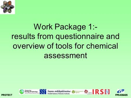 PROTECTFP6-036425 Work Package 1:- results from questionnaire and overview of tools for chemical assessment.