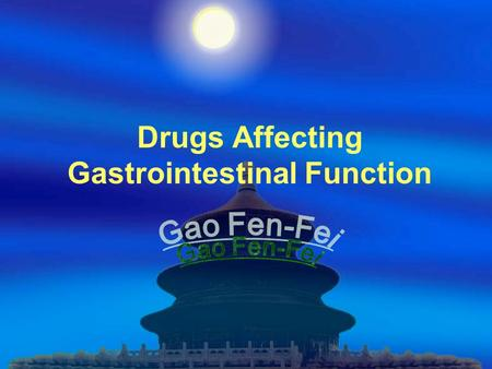 Drugs Affecting Gastrointestinal Function OUTLINE  Peptic Ulcer  Digestion  Vomiting  Diarrhea  Bile  Review-Questions.