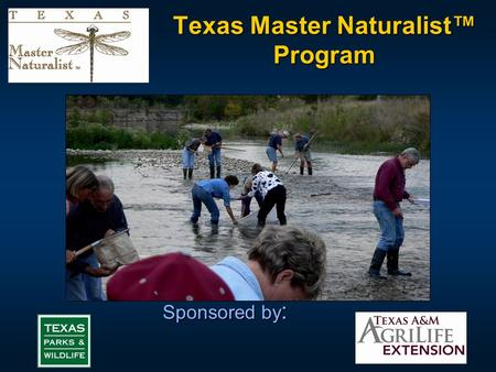 "Texas Master Naturalist™ Program Sponsored by :. The Mission "" To develop corps of well-trained ""Master Volunteers"" to provide education, outreach and."