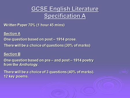 GCSE English Literature Specification A Written Paper 70% (1 hour 45 mins) Section A One question based on post – 1914 prose. There will be a choice of.