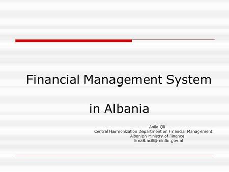 Financial Management System in Albania
