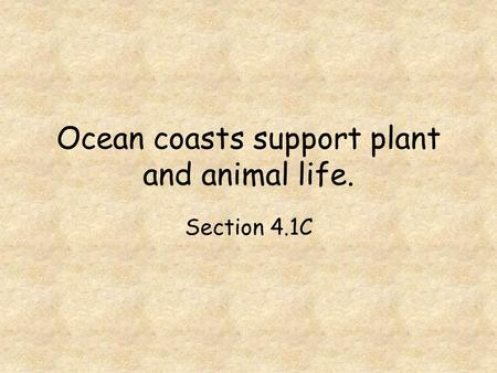 Ocean coasts support plant and animal life.
