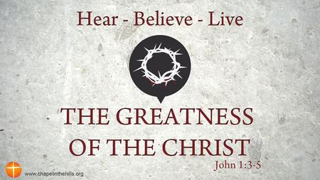 The Greatness of the Christ Do you feel that in your Christian walk you are surviving instead of thriving ?