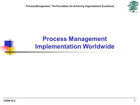 ©2006 OLC 1 Process Management: The Foundation for Achieving Organizational Excellence Process Management Implementation Worldwide.