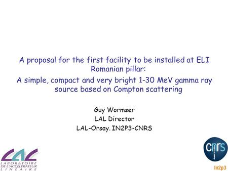 A proposal for the first facility to be installed at ELI Romanian pillar: A simple, compact and very bright 1-30 MeV gamma <strong>ray</strong> source based on Compton.