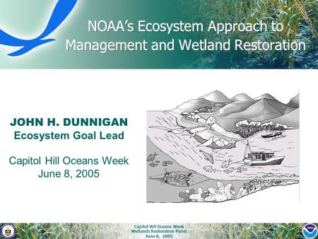 Capitol Hill Oceans Week Wetlands Restoration Panel June 8, 2005 JOHN H. DUNNIGAN Ecosystem Goal Lead Capitol Hill Oceans Week June 8, 2005.