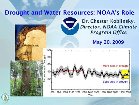 Drought and Water Resources: NOAA's Role Dr. Chester Koblinsky, Director, NOAA Climate Program Office 1 May 20, 2009.