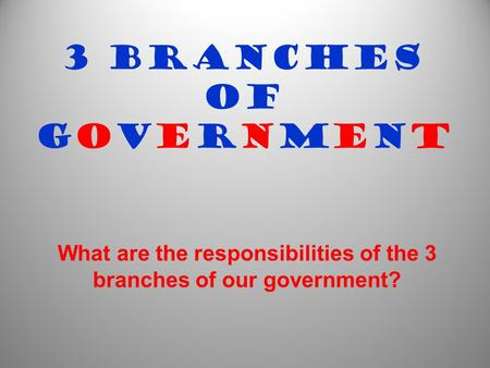 3 Branches of Government