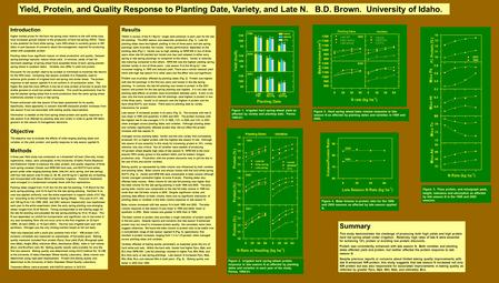 Yield, Protein, and Quality Response to Planting Date, Variety, and Late N. B.D. Brown. University of Idaho. Introduction Higher market prices for the.