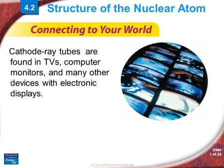 © Copyright Pearson Prentice Hall Slide 1 of 25 Structure of the Nuclear Atom Cathode-ray tubes are found in TVs, computer monitors, and many other devices.