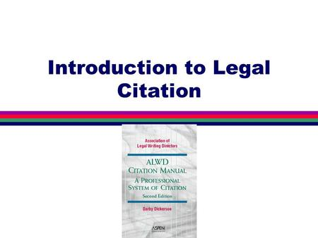 "Introduction to Legal Citation What Is Citation? l ""Code"" to help readers find the sources you refer to in your paper. Names, abbreviations, numbers."