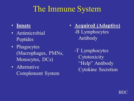 The Immune System Innate Antimicrobial Peptides Phagocytes (Macrophages, PMNs, Monocytes, DCs) Alternative Complement System Acquired (Adaptive) -B Lymphocytes.