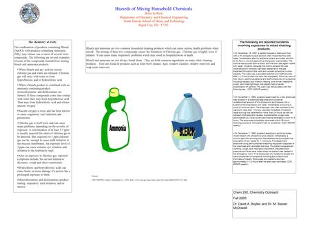 Hazards of Mixing Household Chemicals Billie Jo Rich Department of Chemistry and Chemical Engineering, South Dakota School of Mines and Technology Rapid.