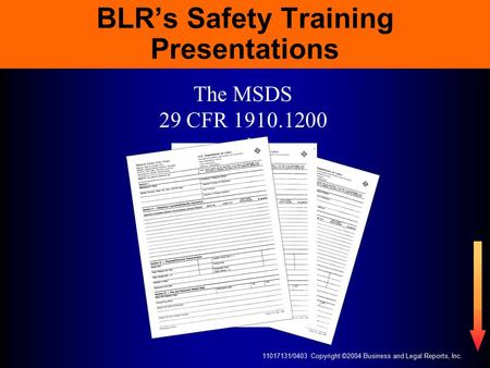 11017131/0403 Copyright ©2004 Business and Legal Reports, Inc. BLR's Safety Training Presentations The MSDS 29 CFR 1910.1200.