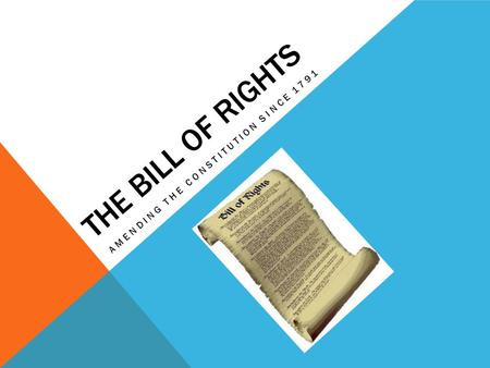 THE BILL OF RIGHTS AMENDING THE CONSTITUTION SINCE 1791.