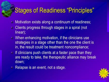 "Stages of Readiness ""Principles"""
