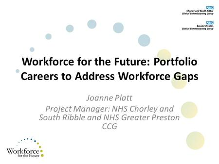 Workforce for the Future: Portfolio Careers to Address Workforce Gaps Joanne Platt Project Manager: NHS Chorley and South Ribble and NHS Greater Preston.