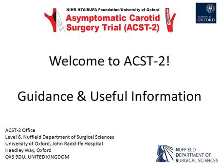 Welcome to ACST-2! Guidance & Useful Information