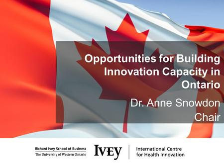 Opportunities for Building Innovation Capacity in Ontario Dr. Anne Snowdon Chair.