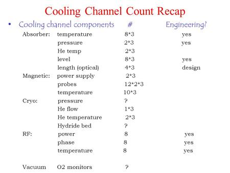 Cooling Channel Count Recap Cooling channel components # Engineering? Absorber: temperature 8*3 yes pressure 2*3 yes He temp 2*3 level 8*3 yes length (optical)