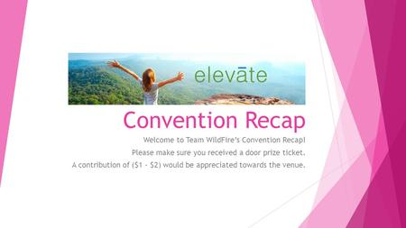 Convention Recap Welcome to Team WildFire's Convention Recap! Please make sure you received a door prize ticket. A contribution of ($1 - $2) would be appreciated.