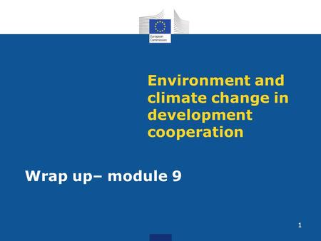Environment and climate change in development cooperation Wrap up– module 9 1.