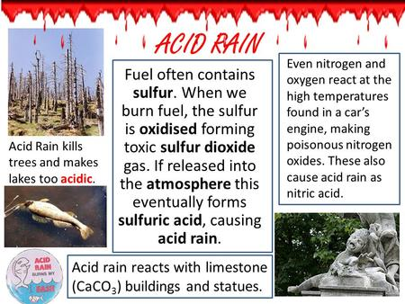 Even nitrogen and oxygen react at the high temperatures found in a car's engine, making poisonous nitrogen oxides. These also cause acid rain as nitric.