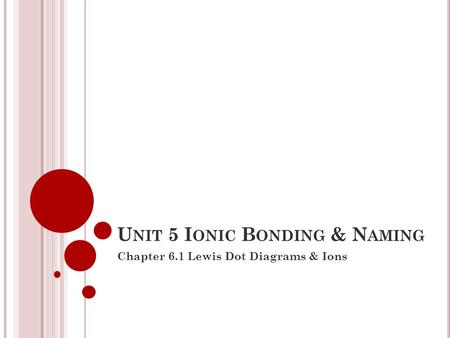 U NIT 5 I ONIC B ONDING & N AMING Chapter 6.1 Lewis Dot Diagrams & Ions.