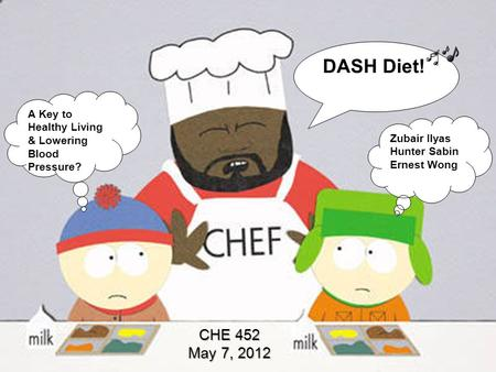 CHE 452 May 7, 2012 DASH Diet! A Key to Healthy Living & Lowering Blood Pressure? Zubair Ilyas Hunter Sabin Ernest Wong.