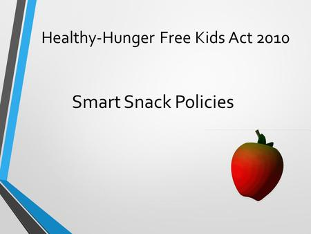 Healthy-Hunger Free Kids Act 2010 Smart Snack Policies.