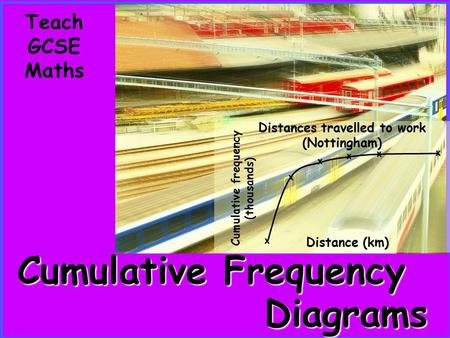 Cumulative frequency (thousands) Distances travelled to work (Nottingham) x x x x x x Distance (km) Teach GCSE Maths Diagrams Cumulative Frequency.