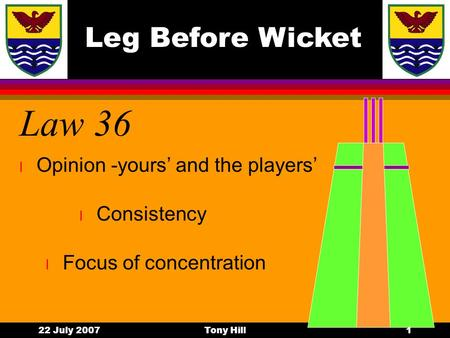 Leg Before Wicket 22 July 2007Tony Hill1 Law 36 l Focus of concentration l Consistency l Opinion -yours' and the players'