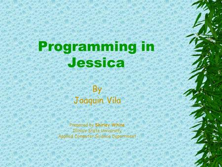 Programming in Jessica By Joaquin Vila Prepared by Shirley White Illinois State University Applied Computer Science Department.