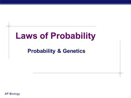 AP Biology Laws of Probability Probability & Genetics.