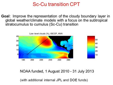 Sc-Cu transition CPT Goal: Improve the representation of the cloudy boundary layer in global weather/climate models with a focus on the subtropical stratocumulus.