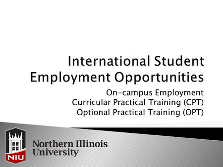 On-campus Employment Curricular Practical Training (CPT) Optional Practical Training (OPT)